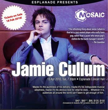 Poster pertunjukan Jamie Cullum di Esplanade