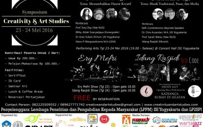 Symposium Creativity & Art Studies, LPPM Institut Seni Indonesia (ISI) Jogja 23-24 Mei 201