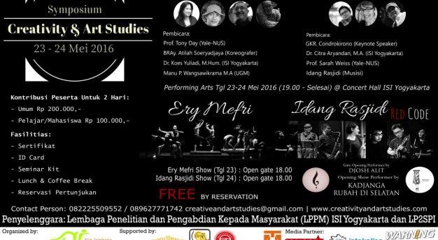 Symposium Creativity & Art Studies, LPPM Institut Seni Indonesia (ISI) Jogja 23-24 Mei 201